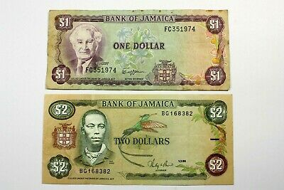 Two   Jamaica Notes (1) 2 Dollar Note, (1) 1 Dollar Note Circulated Condition