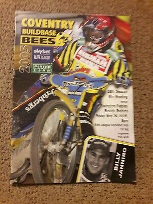 COVENTRY v SWINDON K O Cup SPEEDWAY PROGRAMME 20th May 2005
