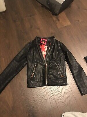Girls Ted Baker Black Leather Coat Jacket Age 11-12 yrs