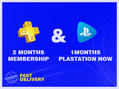 2 MONTHS( 56days-14x4)PLAYSTATION PLUS ps4 + 1MONTH PLAYSTATION NOW( 28days-7x4)