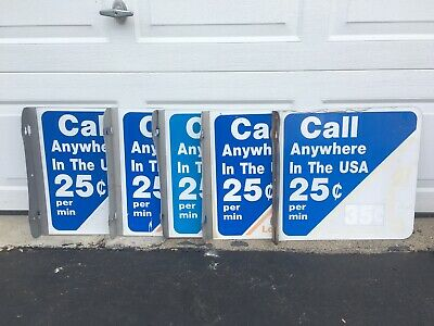 LOT Of 5 Vintage Payphone Booth Pay Phone 18x18 Metal Sign