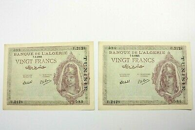 Two Tunisia 1941-45 Issue 20 Franc Notes Kp#18 Uncirculated Consecutive Ser #