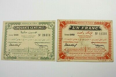 Two Tunisia Treasury 1919 Issues Notes (1) 50 Centimes , (1) 1 Franc Note Unc