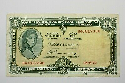 ONE IRELAND 1961-63 ISSUE ONE POUND NOTE 1972 KP#64c NICE CIRCULATED CONDITION