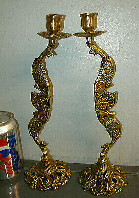 VINTAGE SET 2 BRASS CANDLE STICK HOLDERS by TAMAR ISRAEL- ORNATE DOUBLE FISH