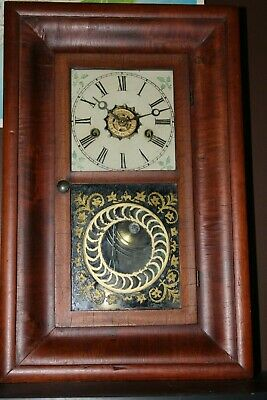Antique 1860's  OGEE ,Mantle Clock With Key And Pendulum    Works