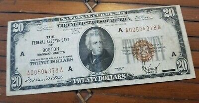 """1929"" $20 National Currency Federal Reserve Bank of Boston National Note CRISP!"