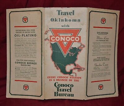 VINTAGE - Travel Oklahoma With Conoco Gas Station Travel Road Map 1940's - RARE
