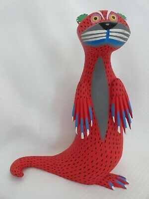 Moises Jimenez Autor Red Spotted Wood Carving Oaxacan Mexican Folk Art 8""