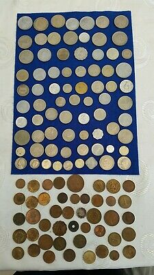 job lot of Mixed 120 Antique /Vintage English and World Coins ,Coins