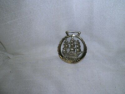 Vintage Brass Horse Bridle Medallion Of The H.m.s. Victory