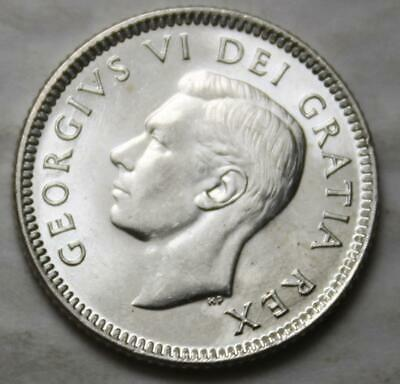 Canada 1952 Silver 10 Cents, Choice+ Brilliant Uncirculated, Old Date KGVI