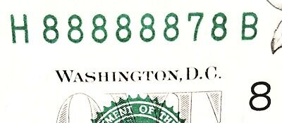 7 of kind 8's # 88888878 NEAR SOLID 8th district $1 Fancy serial # /non star /