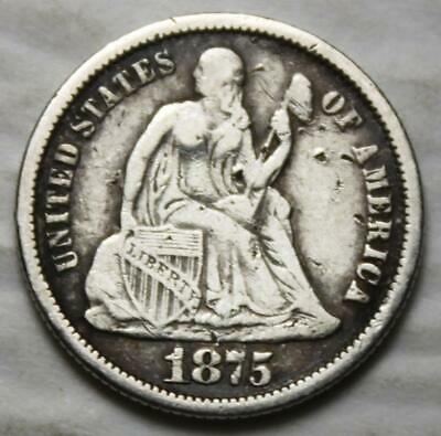 United States 1875-P Silver Dime, Seated Liberty