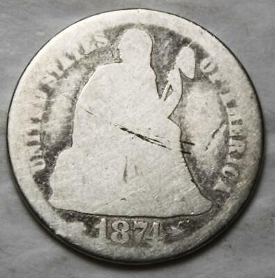 United States 1874 Silver Dime, Seated Liberty