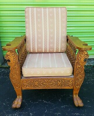 Antique Tiger Oak Highly Carved Morris Chair. Griffin And Clawfoot Carvings.
