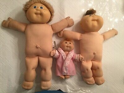 "Vintage Lot Of 3Cabbage Patch Dolls Played With Cond. 17"" 14"" and 8"""