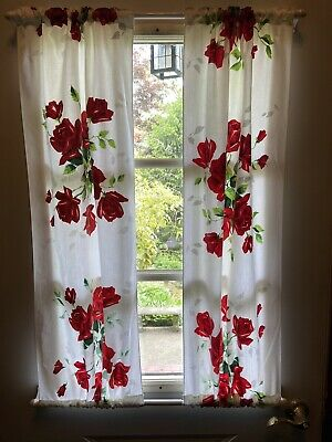 "Vintage WILENDUR ROYAL RED ROSE ROSES Handmade Curtains 2 Panels 40"" X 17 1/2"""