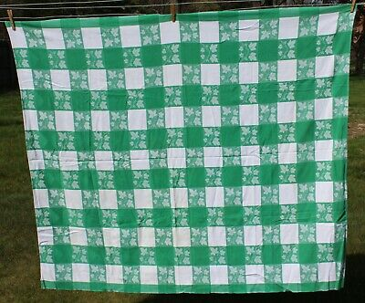 Vintage SIMTEX Tablecloth - Green & White Gingham Checked Ivy Design 50x68