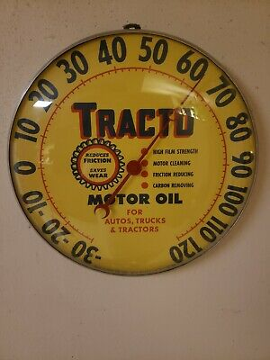 VINTAGE TRACTO MOTOR OIL Round Advertising Thermometer Sign Gas Station
