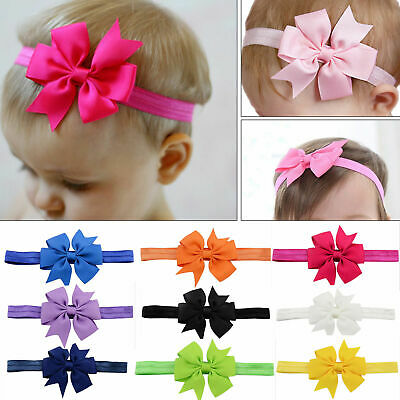 20pc Elastic Baby Headdress Kids Hair Band Girls Newborn Bowknot Headband Ribbon