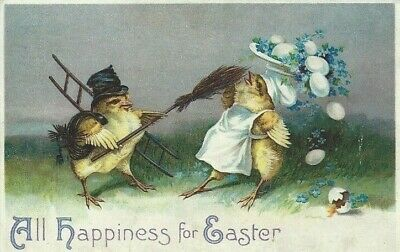 Clapsaddle(?) Easter Postcard - Chimney Sweep -1910 - Anthropomorphic - Embossed