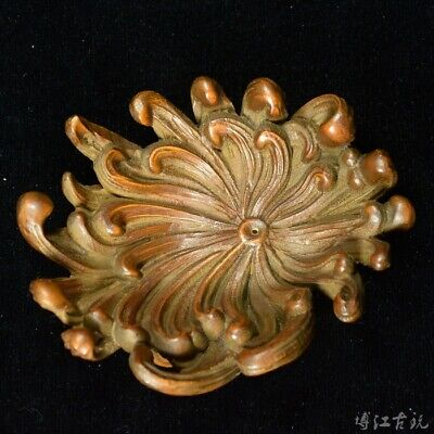 Collectable China Old Boxwood Hand-Carved Bloomy Chrysanthemum Delicate Teaboard