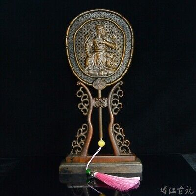 Collect China Old Boxwood Hand-Carved General Guan Yu Delicate Fan Screen Statue