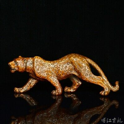 Collectable China Old Boxwood Hand-Carved Wild Animal Leopard Decorate Statue