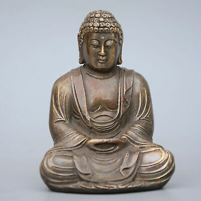 Collectable China Old Bronze Hand-Carved Buddhism Kwan-Yin Luck Decorate Statue