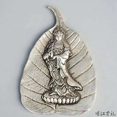 Collectable China Old Miao Silver Hand-Carved Kwan-Yin Decorate Buddhism Statue