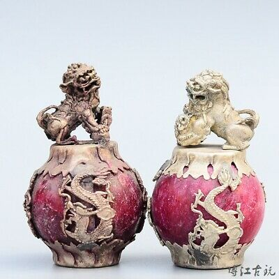 Collectable China Old Miao Silver Armour Agate Hand-Carved A Pair Lion Statue