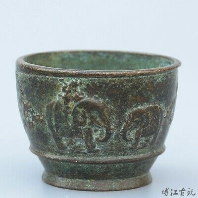 Collect China Old Bronze Hand-Carved Elephant Moral Auspicious Delicate Tea Bowl