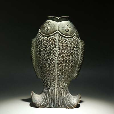 Collect China Old Bronze Hand-Carved Vivid Fish Moral Auspicious Delicate Statue