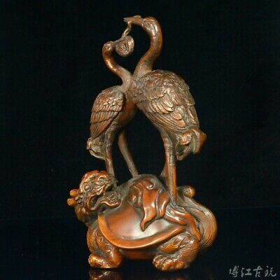 Collectable Old Boxwood Carve Dragon Turtle Double Crane Fight Ganoderma Statue