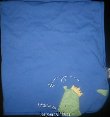 Just One Year Carters blanket boy  Little Prince dragon  Blue stripes reversible