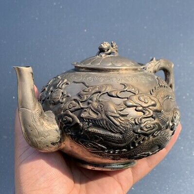 Elegant Antique Chinese Qing Dynasty Export Silver Tea Pot With Flying Dragons