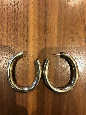 Yellow Gold Plated Brass Oval Round Hoop Earrings width 45mm