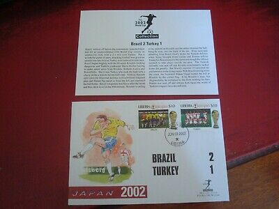 LIBERIA - 2002 WORLD CUP (BRAZIL vs TURKEY) - FIRST DAY COVER (WITH INSERT)