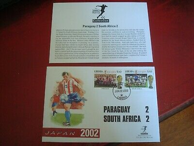 LIBERIA - 2002 WORLD CUP (PARAGUAY vs S. AFRICA) - FIRST DAY COVER (WITH INSERT)
