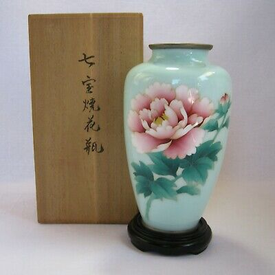 Vintage  Cloisonne light-blue  Vase with a floor plate and Paulownia box