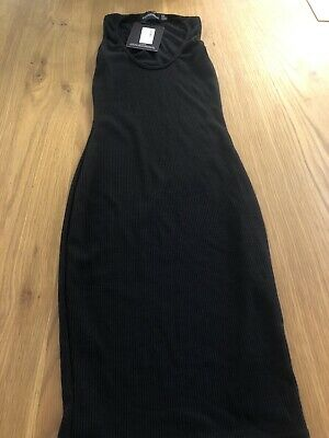 Pretty Little Thing Black Ribbed Bodycon Dress. New Tagged UK4