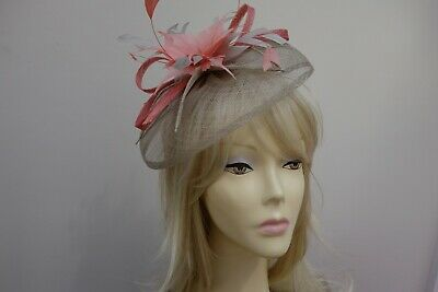 Jacques Vert Beige & Peach Fascinator Head Band Rrp £79 In Box Immaculate