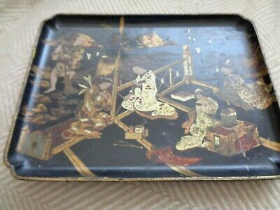 Antique Paper Mache  - Oriental Themed Small Tray 10inches by 7,1/2 geisha girls