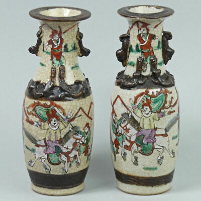 Antique Pair Of Chinese Crackle Ware Porcelain Warrior Vases C.1890