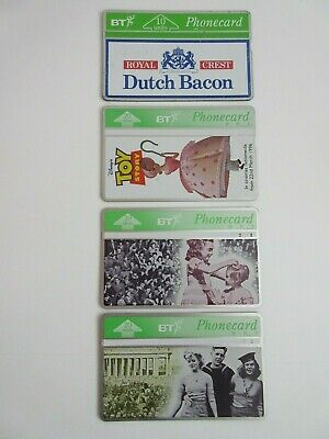 BT phone cards x 4 Toy Story no. 5, The Time of Our Lives no.1+6, Dutch Bacon.