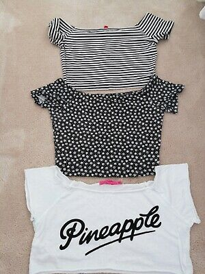 Pineapple / H&M  3 X Crop Tops Black White Mix Size Small cap Sleeve