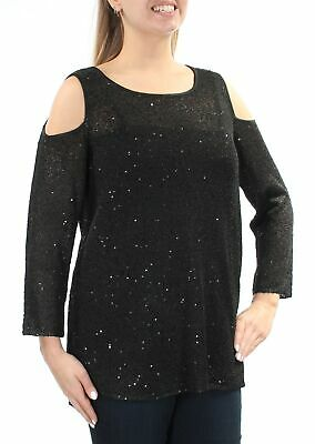 ALFANI Womens New 1375 Black Sequined Cut Out  2 Pc Long Sleeve Top L B+B