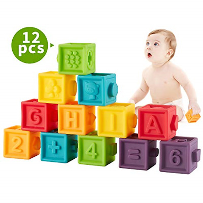 Squeeze Baby Blocks Soft Building Blocks for Toddlers Teething Chewing Toys