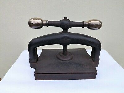 Victorian  Large Cast Iron & Brass Book Press In Good Working Order Stunning
